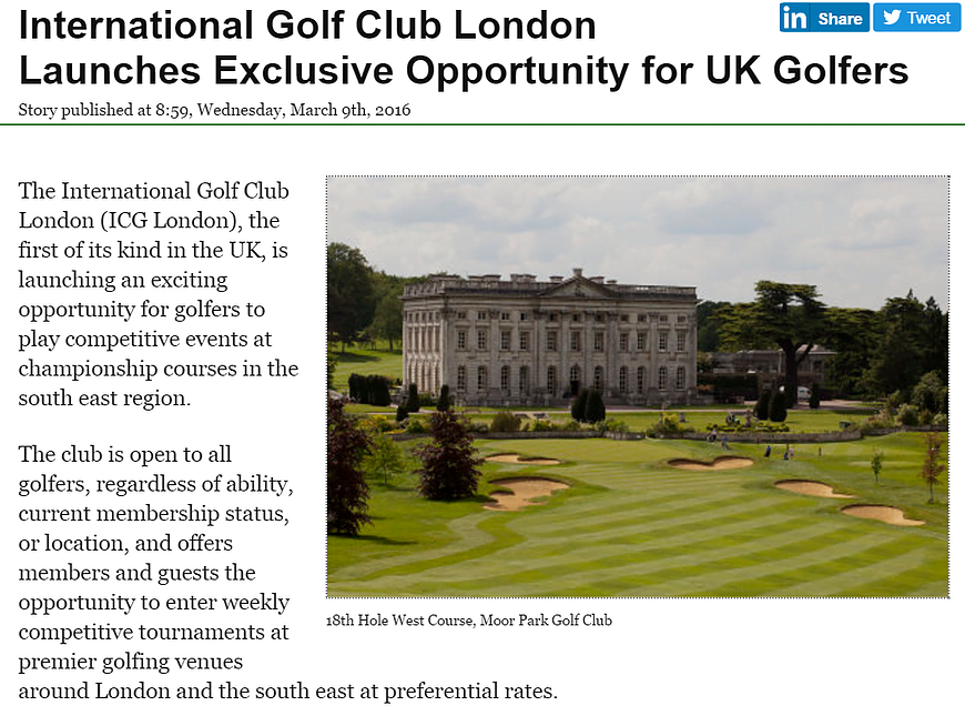 IGC London in Golf Business