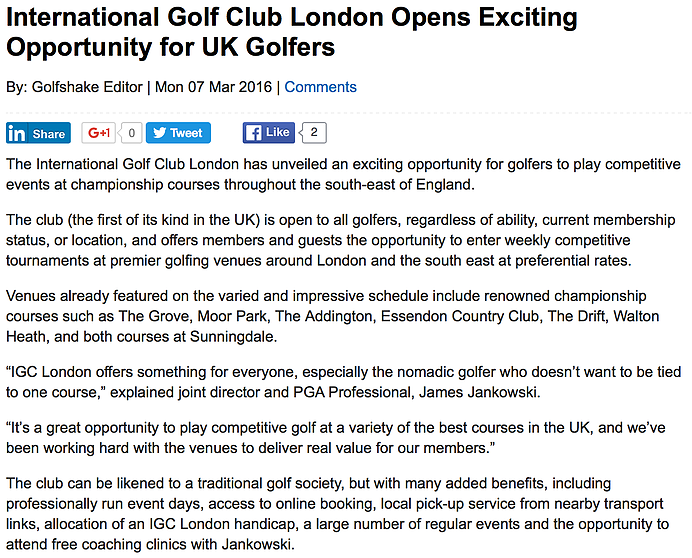 IGC London in Golf Shake