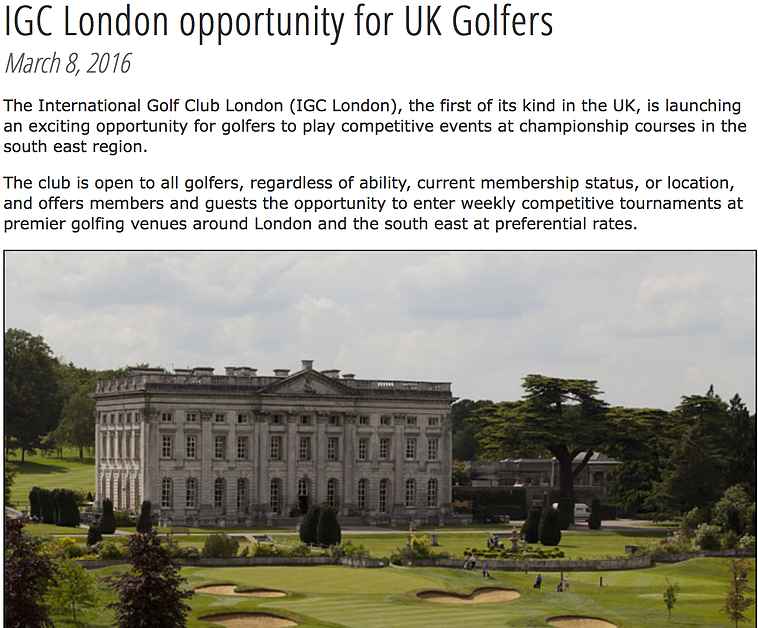 IGC London in Golf Today